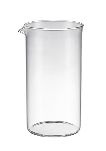 Bruntmor Universal Replacement beaker Spare Heat & Shock resistant Borosilicate Glass Carafe for French Press Coffee Maker, 8-cup, 34-ounce (Fits most Bodum's and all other 8 cup French Press that has a drip spout) ()