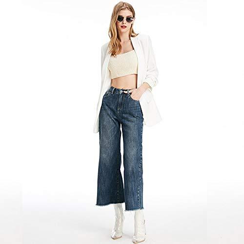 a larga gamba S punti Nuovi L vita nove confortevoli a a donna alta jeans profondo MVGUIHZPO jeans vita Vita pantaloni Jeans blu alta 7wOq8F