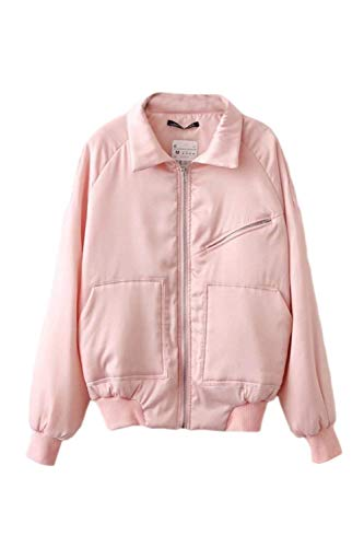 Solapa Delanteros Exteriores Retro Moda Chaquetas Manga Pink Bolsillos Outerwear Anchos Cremallera Sólidos Prendas De Larga Otoño Bomber Joven Colores Abrigos Mujer Con n606PTaq