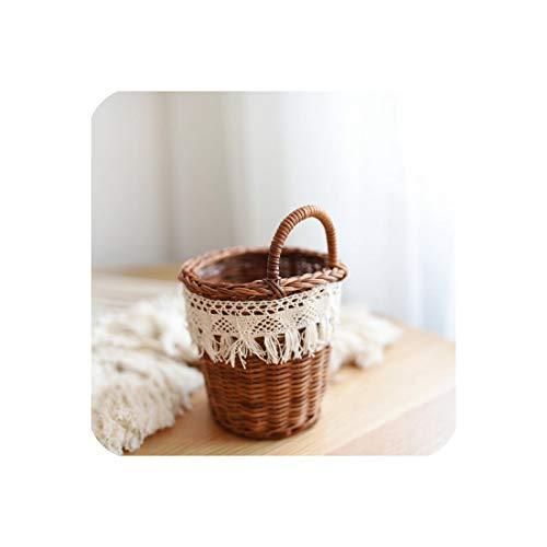 Handmade Woven Wicker Flower Basket Fringed Lace Portable Picnic Fruit Basket Dustproof Storage Basket,S (Clue Basket Wicker Crossword)