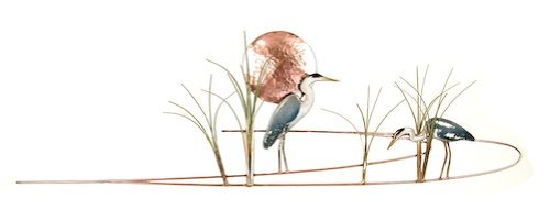 Bovano - Wall Sculpture - Great Blue Heron w/ Grasses made in New England