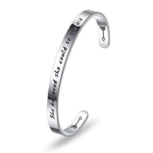 Inspirational Gifts Bracelet for Women Birthday Valentines Day Gifts for Her Silver Cuff Bangle Personalized Mantra
