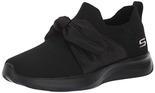 BOBS from Skechers Women's Bobs Squad 2 - bow overlay slip on engineered knit sneaker w memory foam Shoe, bbk, 6.5 M US