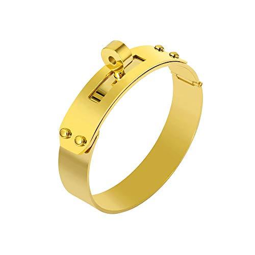(Designer Inspired Titanium Steel Wide Cuff Sliding Shackle Bracelet Bangle Unisex (Gold 12mm) )