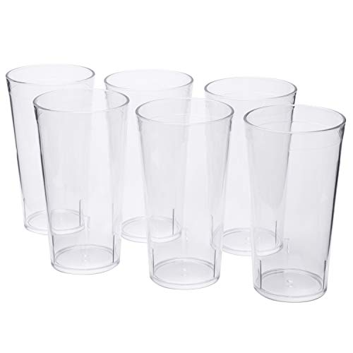 PEMOTech Acrylic Tumblers, [6 Pack] 16 Oz Restaurant Quality Clear Acrylic Drinking Glasses Cups Set, 100% BPA-free Unbreakable Glasses Tumbler Dishwasher Safe Plastic Cups Glassware - Glass Hurricane Acrylic