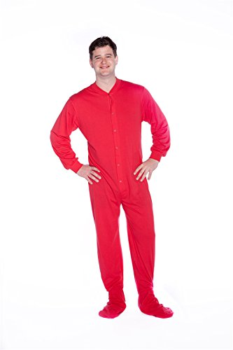 Jersey Knit Footed Pajamas (Big Feet PJs Red Jersey Knit Adult Footed Pajamas No Drop Seat)