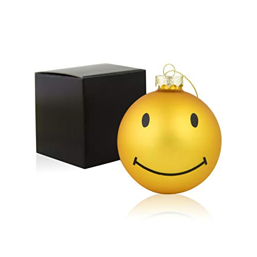 Silly Me Products Large Christmas Glass Ball Ornament - Yellow Gold Smiley Face Xmas Tree Holiday Decoration for Home, Patio & Outdoors - Emoji Party Favors - A Novel Xmas Gift - 3 Inches Round