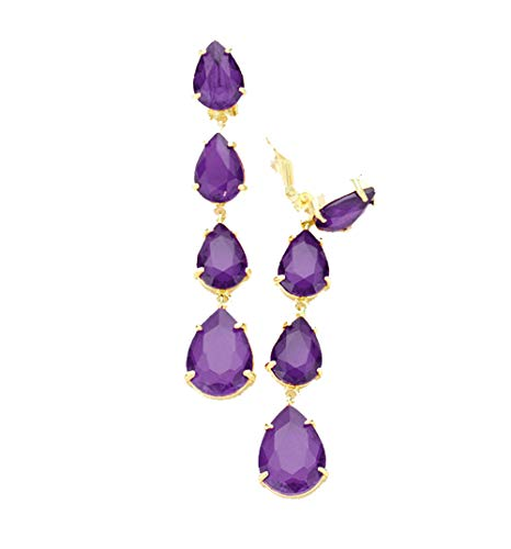 Vintage Style Dangle Clip On Non Pierced Earrings Accented with Purple Rhinestones with Goldtones 3.25 in