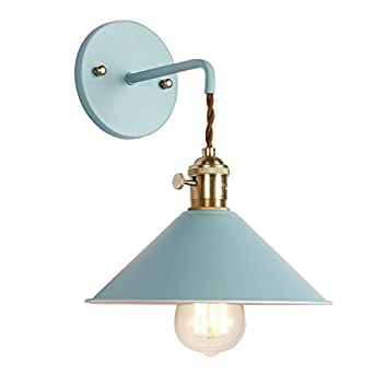 IYoee Wall Sconce Lamps Lighting Fixture With On Off Switch,Blue Macaron  Wall Lamp E26