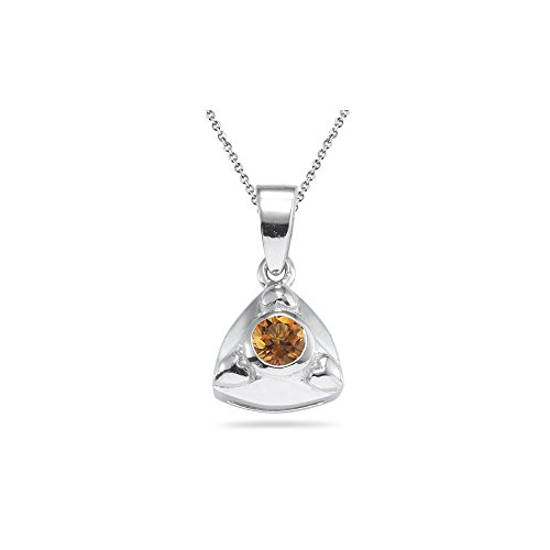 0.20 Ct 4 mm AA Round Citrine Solitaire Trillion-shaped Pendant-Silver