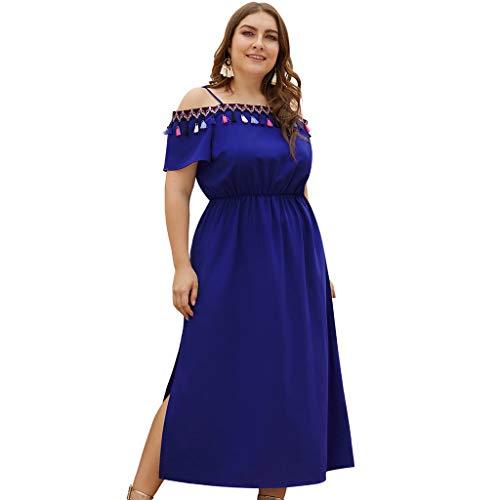 Women Plus Size Tassel One Shoulder Sling High Waist Print Short Sleeve Slit Midi Dress by JUSTnowok Blue