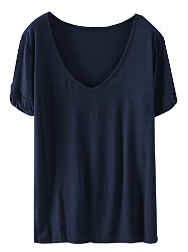 SheIn Women's Summer Short Sleeve Loose Casual Tee T-Shirt Navy#1 Small