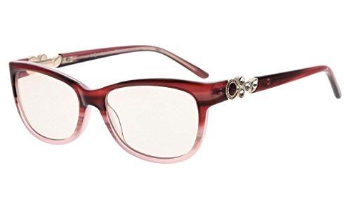 Eyekepper Womens Cat-eye Computer Glasses-Acetate Frame Blue Light Blocking Eyewear, Amber Tinted Lenses - Acetate Glasses Frame