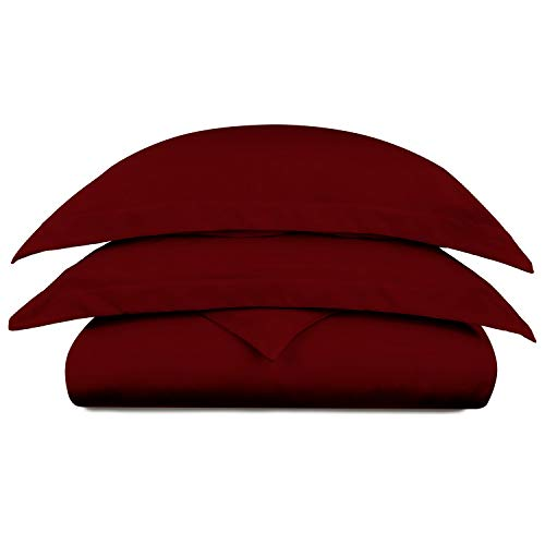 Cosy House Collection Luxury Bamboo Duvet Cover Set 3-Piece - Ultra Soft Hypoallergenic Bedding - Zippered Comforter Protector, Includes 2 Pillow Shams - Twin/Twin XL - Burgundy from Cosy House Collection