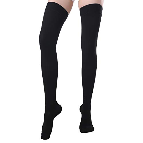 KEWIAR Thigh High Compression Socks - Firm Support 20-30 mmHg Closed Toe Compression Stockings - for Treatment Swelling, Varicose Veins, Edema, Recovery (Black, Medium)
