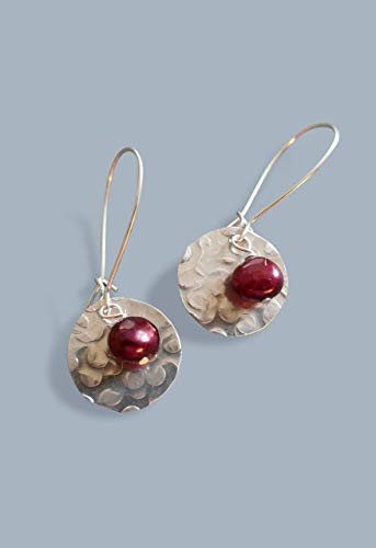 - Handmade Lightweight Womens Small Drop Disc Earrings With Cranberry Pearls Beads by Bettina
