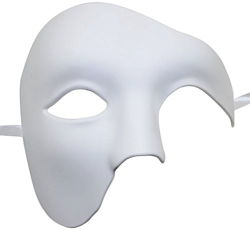 Coxeer Phantom of The Opera Mask Venetian Masquerade Mask Vintage Design(White)