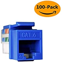 Keystone Jack Cat6 Network RJ45 Ethernet Module Network Coupler Punch Down 110 8P8C Cat6 Connector Blue (100 Pack)