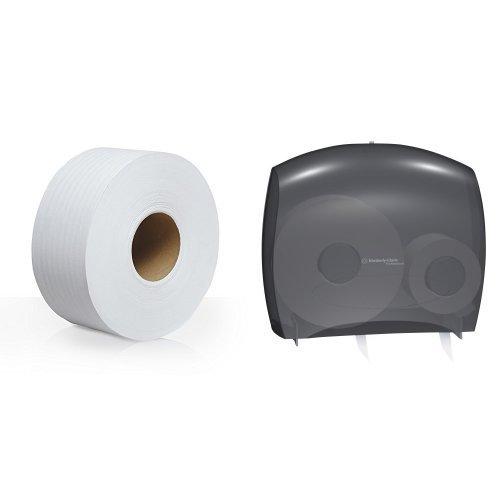 Kimberly-Clark IN-SIGHT JRT Escort unior Jumbo Roll Bath Tissue Dispenser with Stub Roll With 12-Pack Scott 2-Ply JRT Jr. Jumbo Roll Toilet Paper Refill ()