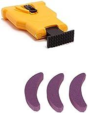 LERDBT Tandslipare motorsågsslipare för träbearbetning, motorsåg, kedjeslipare, självskärpande, snabb träbearbetning med 3 stycken slipstenar (gul)