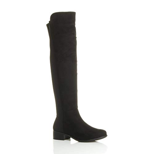 Ajvani Womens ladies high over the knee elastic curvy stretch pull on low heel boots size Black Suede Zip