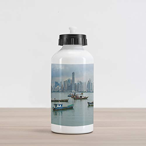 Aluminum Water Bottle, Anchored Fishing Boats Skyscrapers Panama Cityscape Pacific Coast Central America, Aluminum Insulated Spill-Proof Travel Sports Water Bottle, Multicolor ()