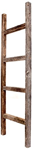 BarnwoodUSA Rustic Farmhouse Decorative Ladder - Our 4 ft Ladder can be Mounted Horizontally or Vertically and is Crafted from 100% Recycled and Reclaimed Wood | No Assembly Required | Weathered Gray