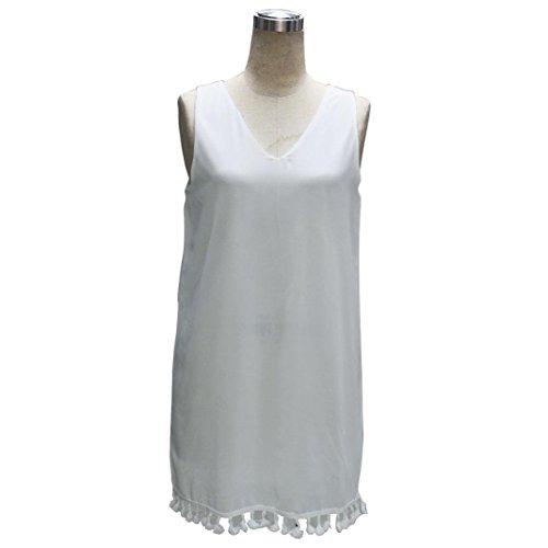 vovotrade Las mujeres con cuello en V sin mangas borlas de perspectiva mini vestido bodycon