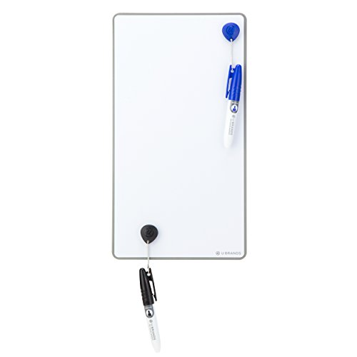 U Brands Magnetic Frameless Dry Erase Board Value Pack, 6 x 11 Inches, Silver Aluminum Frame (Squares Dry Erase)