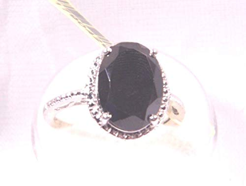 (Large 14x10mm 7.35Ct Thai Black Spinel Oval Plat/Sterling Silver Ring Size 8.25 KS-94)