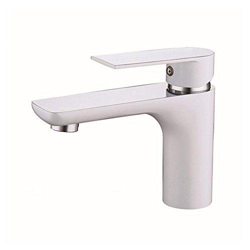 DaeA Tap, Bathroom Basin Faucet Sink Mixer Tap Basin Pillar Tap Chrome Single Lever Tap,Faucet (Color : (White Lever Basin Pillar Taps)
