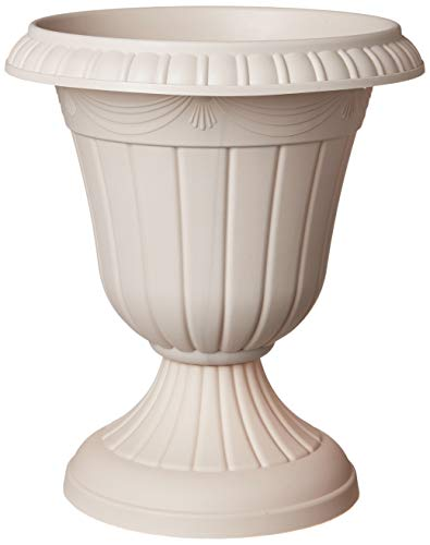 (Arcadia Garden Products PL20TP Classic Traditional Plastic Urn Planter Indoor/Outdoor, 10 x 12 inches, Taupe)