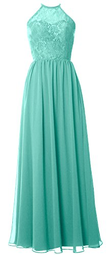 MACloth Women Halter Long Bridesmaid Dress 2017 Lace Wedding Party Formal Gown Turquesa