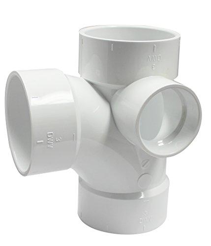 Canplas 192148R PVC DWV Sanitary Tee, 3 x 3 x 3 x 2-Inch, White