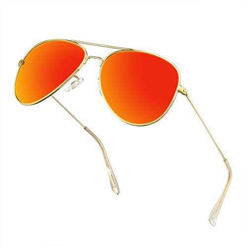 Polarized Aviator Sunglasses for Men Metal Mens Sunglasses Driving Unisex Classic Sun Glasses for Men/Women Orange -