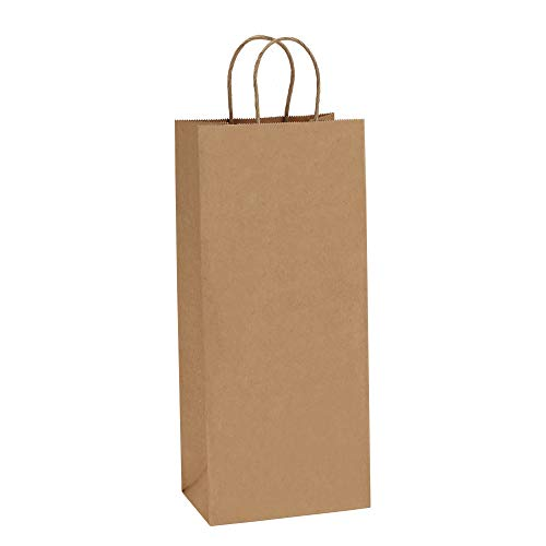 BagDream Kraft Paper Bags 5.25x3.25x13 Inches 50Pcs Wine Bags Paper Gift Bags Kraft Bags Retail Bags Brown Paper Wine Bags with Handles Bulk