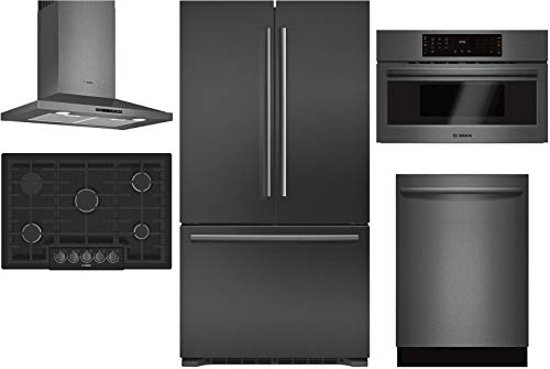 "Bosch 5 Piece Kitchen Package B21CT80SNB 36"" French Door Refrigerator,NGM8046UC 30""Gas Cooktop,HCP80641UC 30"" Wall Mount Hood,HMC80242UC 30"" Electric Oven SHXM78W54N 24""Built In Dishwasher"