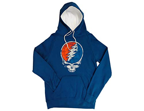 Grateful Dead Hoodie (Ripple Junction Grateful Dead Adult Unisex Distressed Steal Your Face Skull Funnel Neck Pull Over Fleece Hoodie XL)