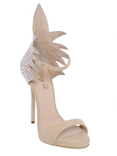 Mujeres Estilete Alto Tacón Sandalias Tobillo Correa Mirar furtivamente Dedo del pie Zapatos Negro Diamante Vestir Pary Grande tamaño 35-45 apricot
