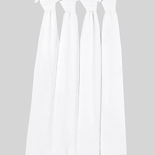 Bacati Set of 4 Muslin Swaddling Blankets, Solid White