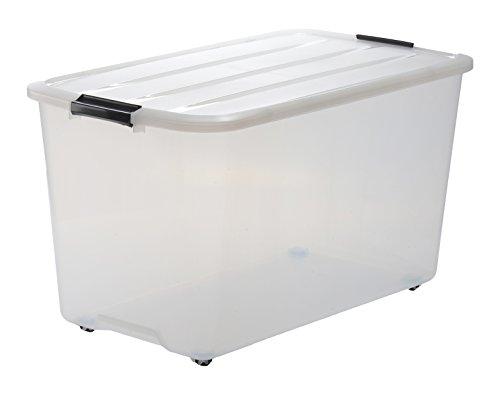 Iris 107156 Set von 4 Aufbewahrungsboxen, Rollbox mit Handel und Deckel, Ordnungssystem, 70 L, 68 x 39 x 38,5 cm, Plastik transparent