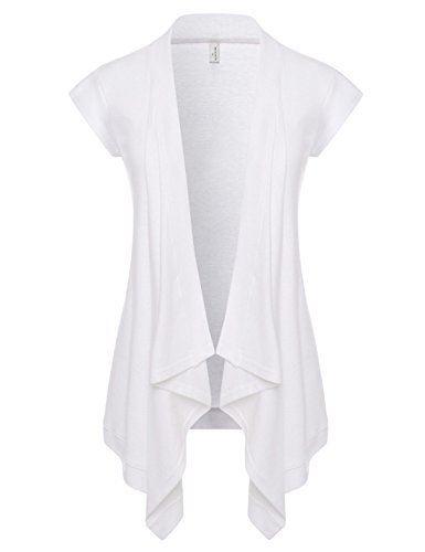 NEARKIN (NKNKWCD692S) Women Daily Casual Slim Cut Look Short Sleeve Open Front Cardigans WHITE US S(Tag size M) (Short Sleeve Cardigan Long)