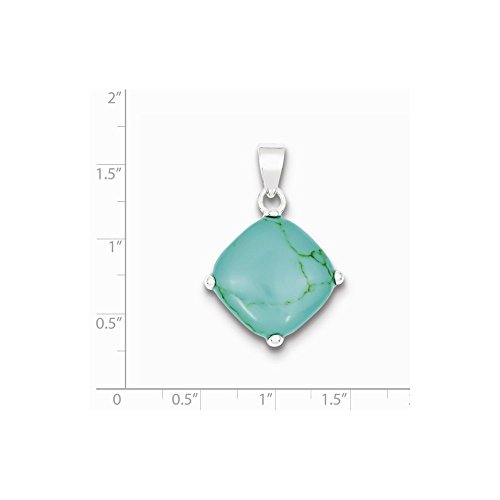 Solid .925 Sterling Silver Square Turquoise Pendant 29x25mm