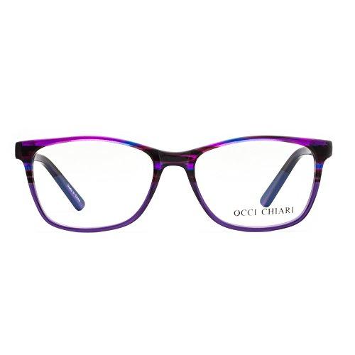 OCCI CHIARI Unisex Fashion Non-prescription Acetate Eyewear Frames With Clear Lens (Purple, - Acetate Eyewear