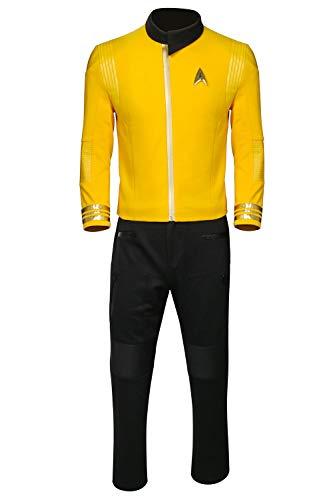 Partyever Trek Discovery Commander Uniform 2017 New Starfleet USS Captain Lorca Georgiou Pike Cosplay Costume Halloween Outfit (Custom Made, Captain Pike) -