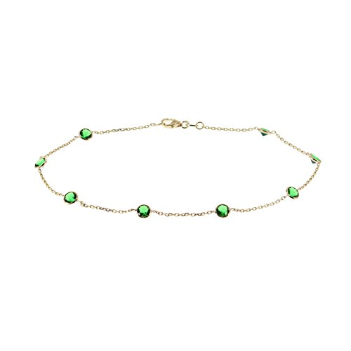 14k Yellow Gold Ankle Bracelet With Green Cubic Zirconia (9 - 11 inches) by amazinite