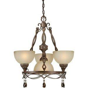 Forte Lighting 2497-04-27 Hanging 4-Light Chandelier, Black Cherry Finish with Shaded Umber Glass