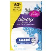 Always Discreet, Incontinence Pads, Ultimate Overnight, Long Length, 45 Count (2 Pack(45 Count))
