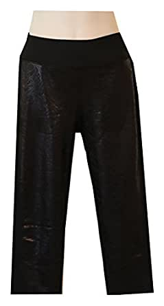 Pro Performance Shiny Lacey Print Reversible to Solid Workout Capri Pants (Small, Solid Black Reverses to Black Shiney Lacy Print)