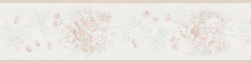 Brewster Parkview diseños para su baño flor Trail cenefa, Beige Pálido